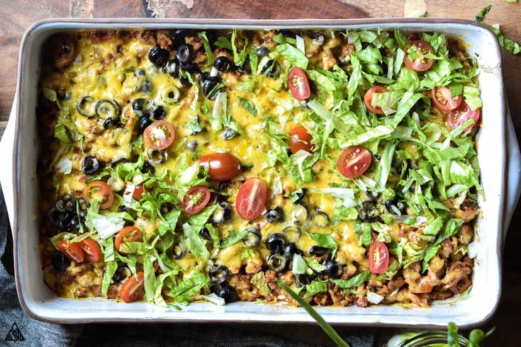 Low carb taco casserole in a casserole dish