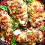 top view of stuffed chicken parmesan