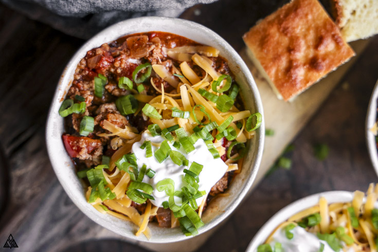 A bowl of low carb chili