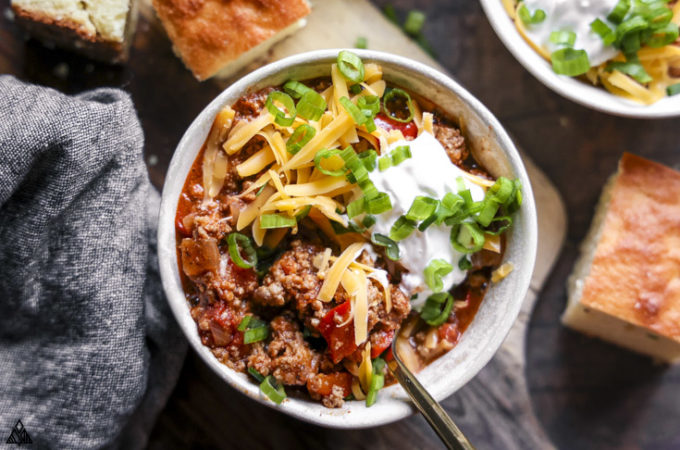 low carb chili with a spoon