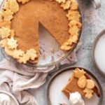 A slice of low carb pumpkin pie in a plate.