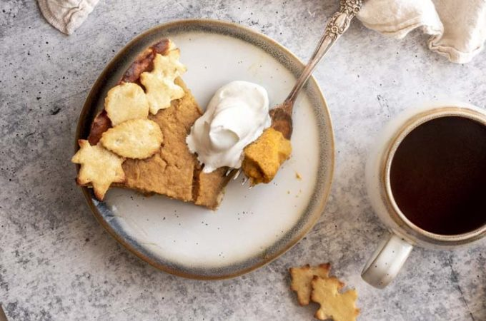 low carb pumpkin pie in a plate with a fork