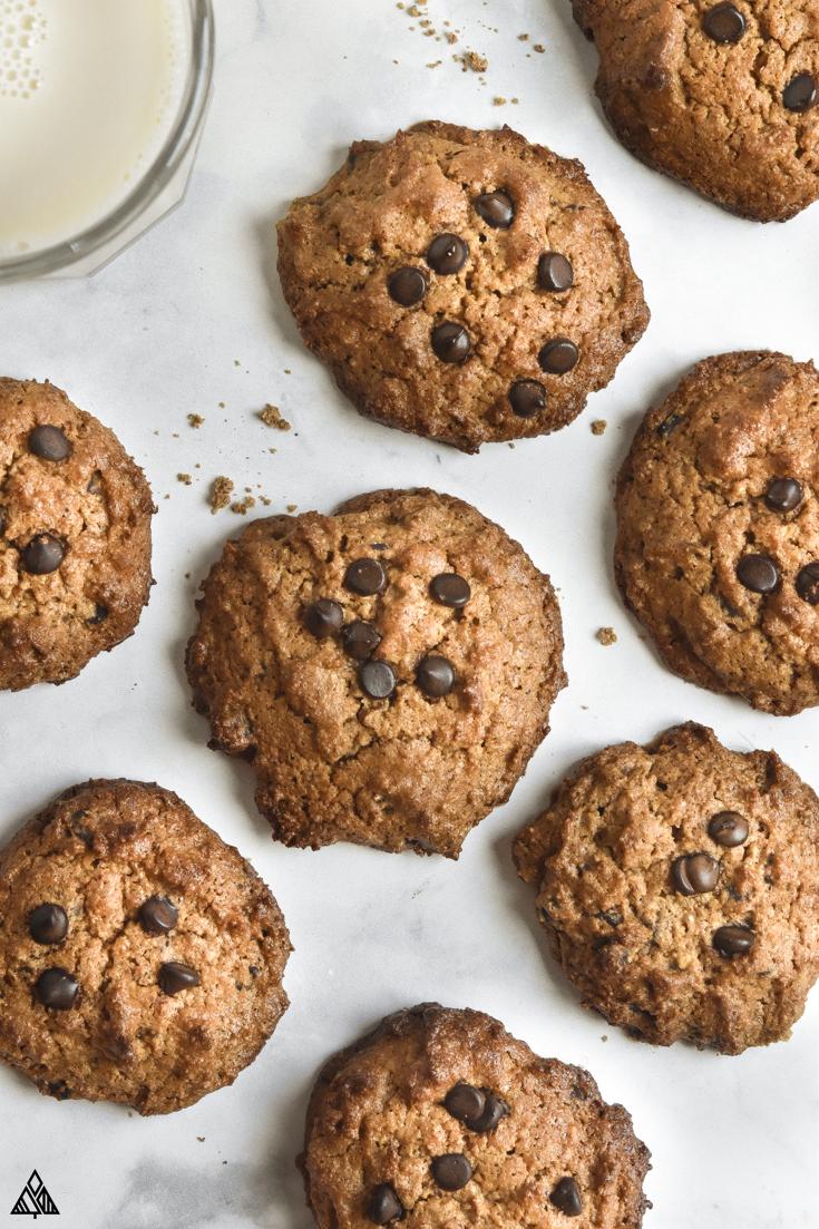 Almond flour peanut butter cookies laid on a parchment paper