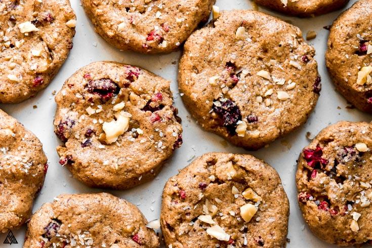 Closer look of breakfast cookies from the top