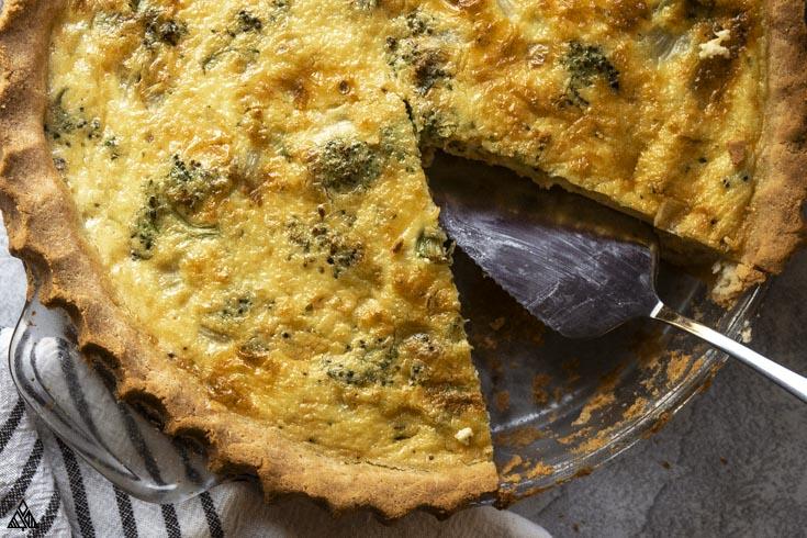 Closer look of broccoli quiche