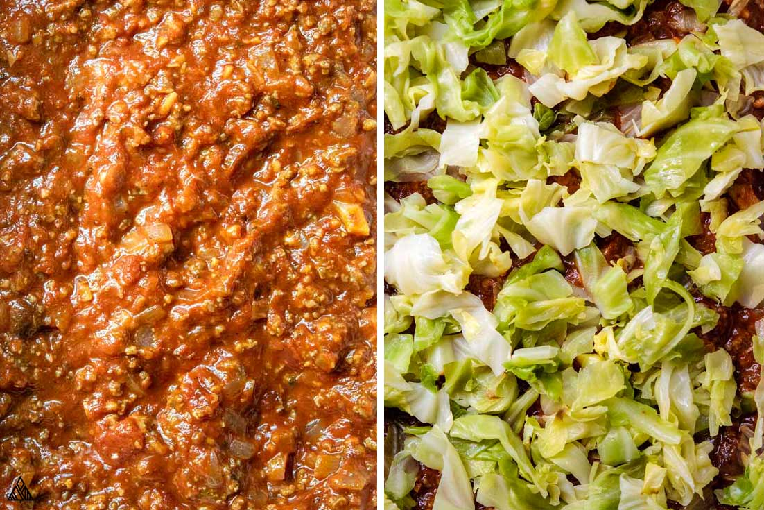 Top view of the ingredients for cabbage lasagna
