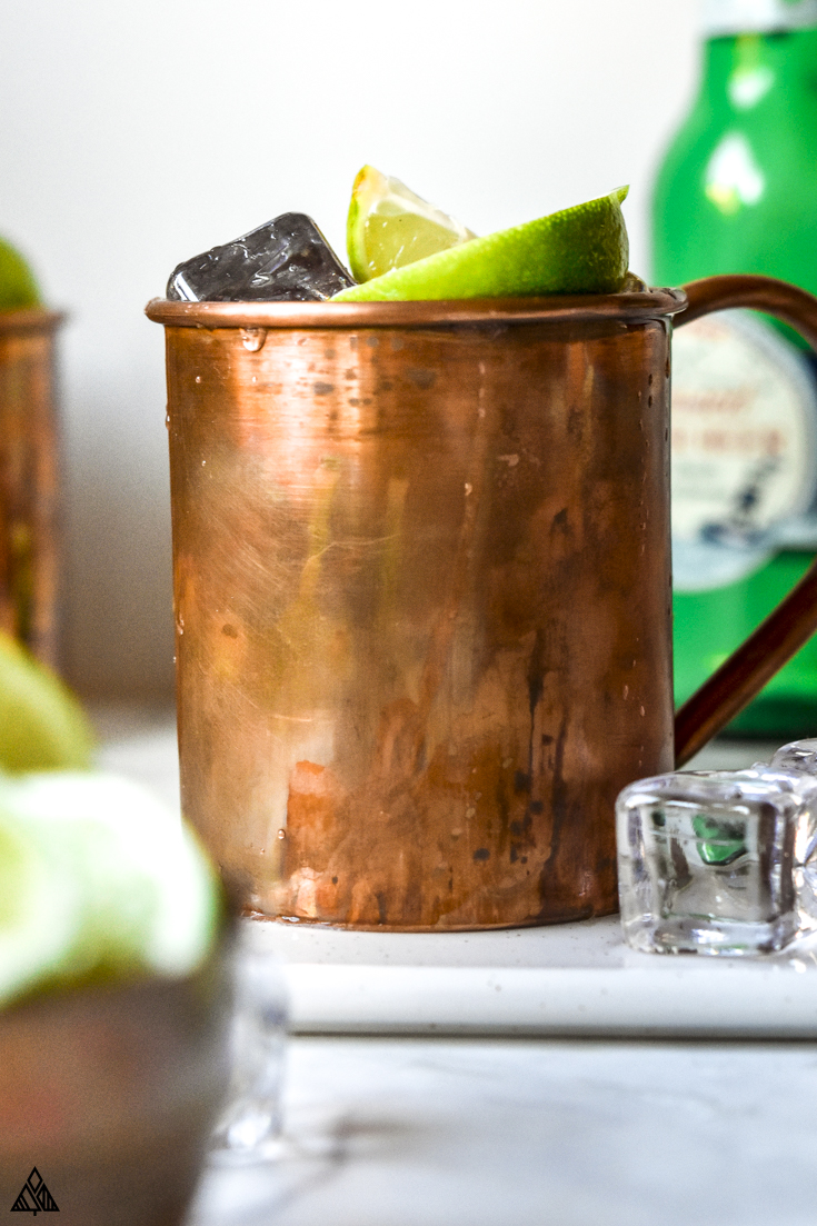 Closer look of keto moscow mule in a cup
