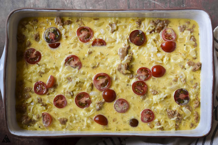 Uncooked low carb breakfast casserole
