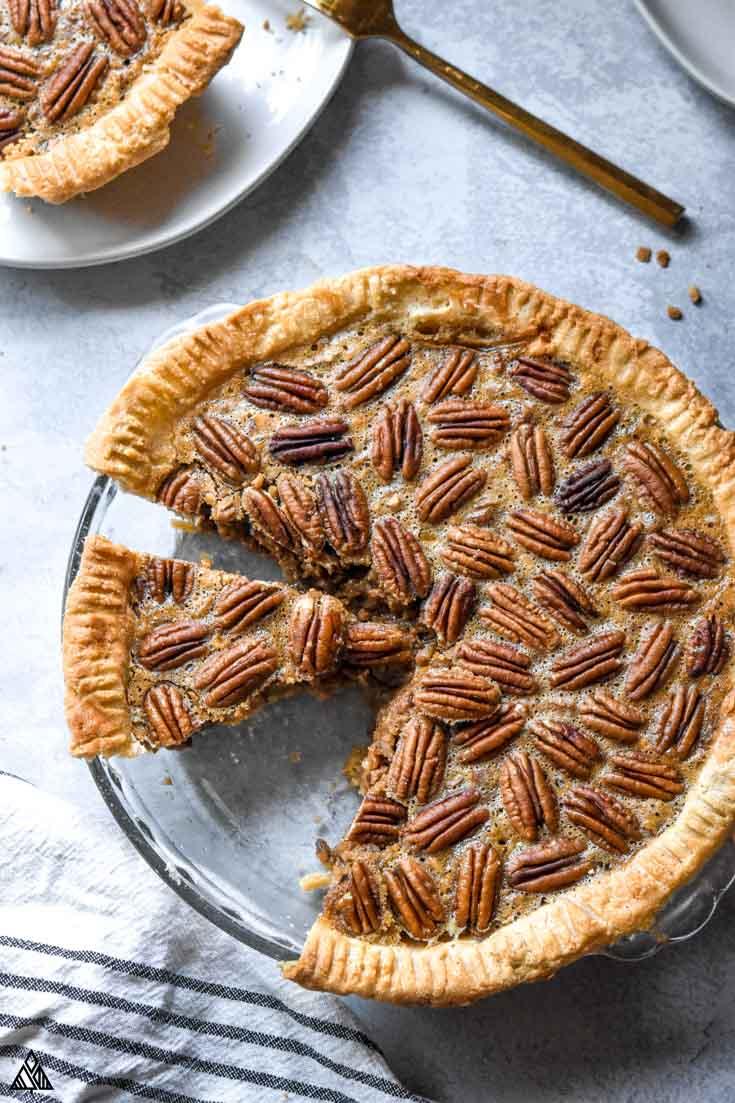 Top view of low carb pecan pie