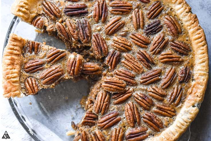 closer look of low carb pecan pie