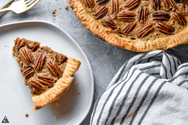 low carb pecan pie in a plate