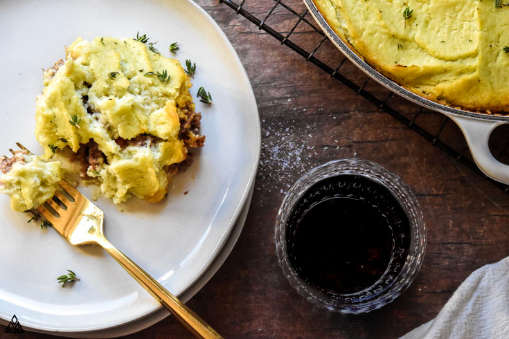 Slice of low carb shepherd's pie in a plate