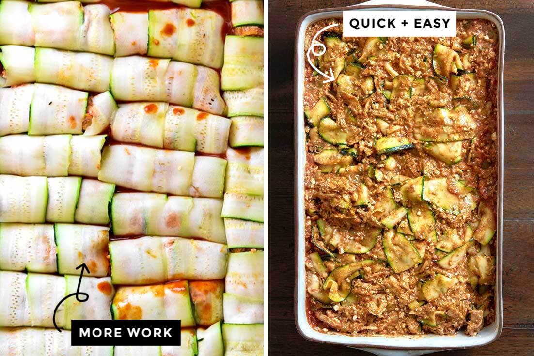 Collage of prepared zucchini enchiladas