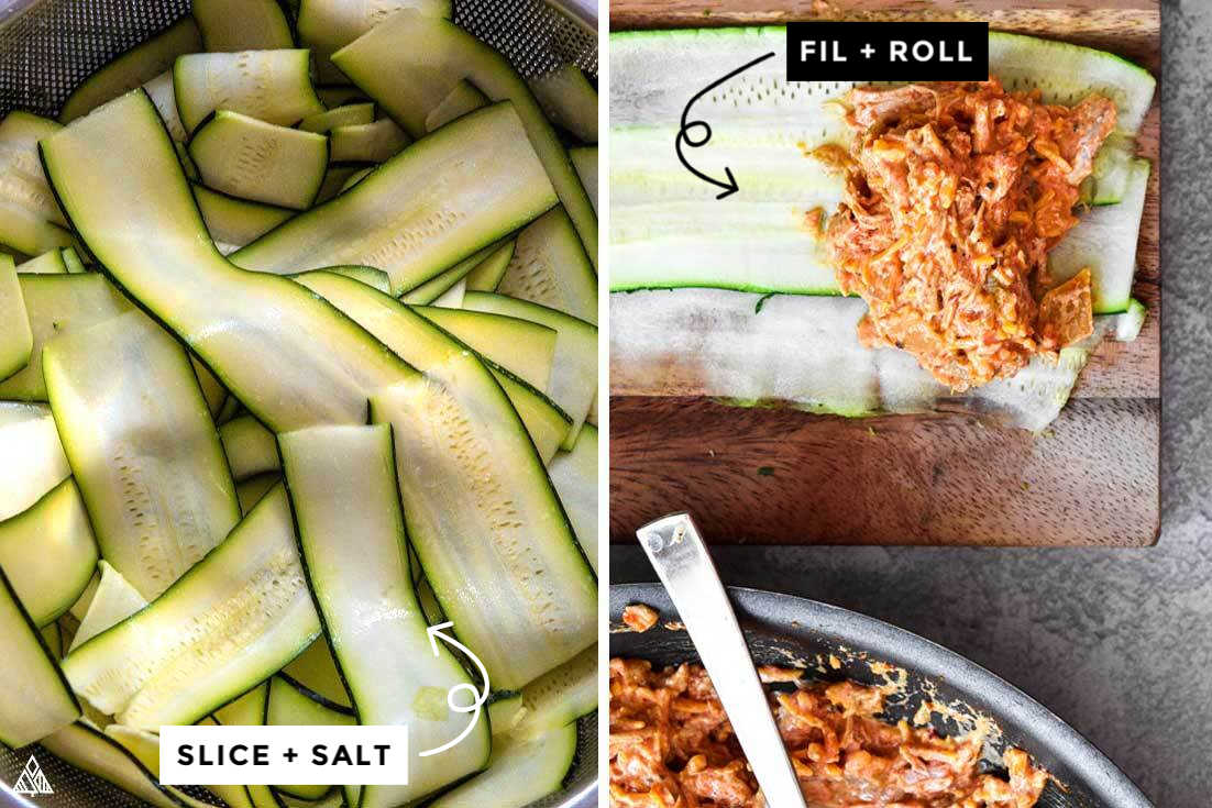 Collage of how to prepare zucchini enchiladas