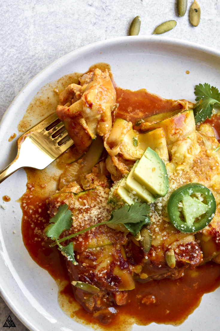 Top view of zucchini enchiladas in a plate