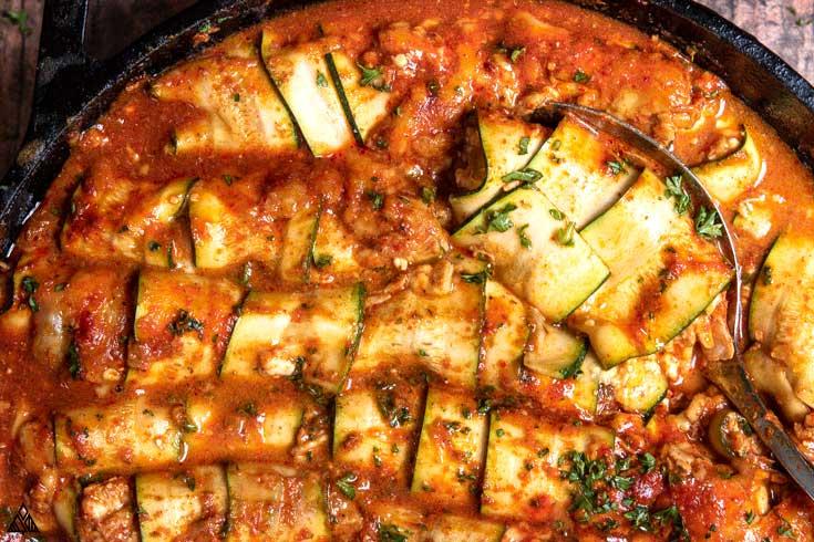 Closer look of zucchini enchiladas
