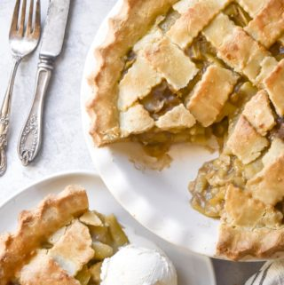 A piece of low carb apple pie in a plate