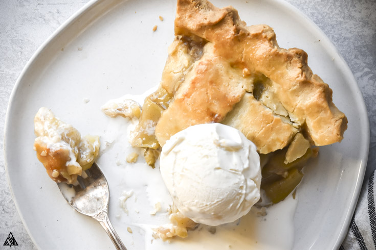 low carb apple pie with a fork