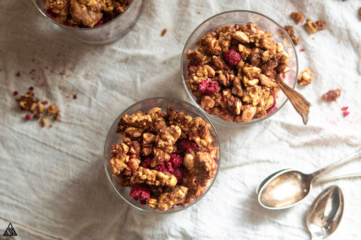 Top view of 2 glasses of low carb granola