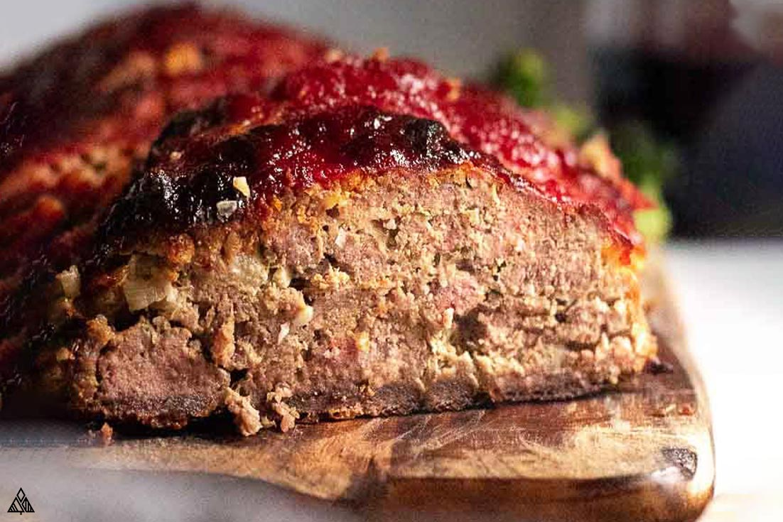 side view of low carb meatloaf
