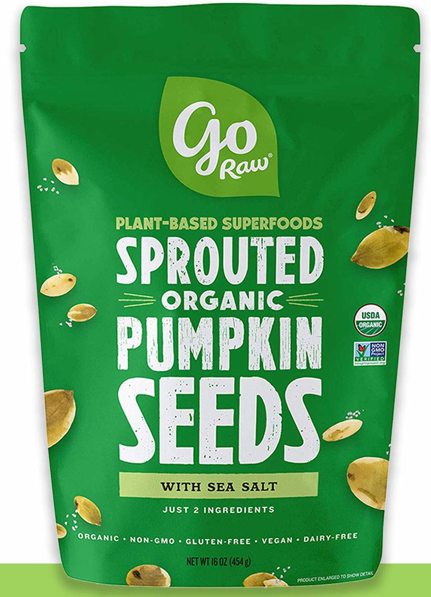 high protein low carb snacks, go raw pumpkin seeds