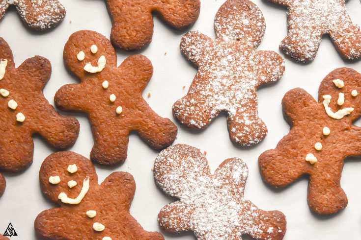 closer look of low carb gingerbread cookies