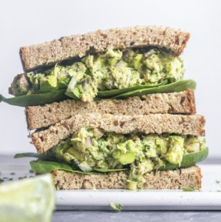 Avocado tuna salad sandwich on a plate