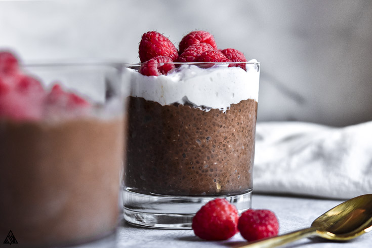Closer look of 2 glasses of chocolate chia pudding