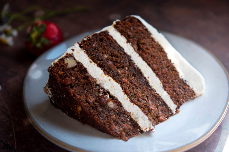 A slice of low carb carrot cake in a plate