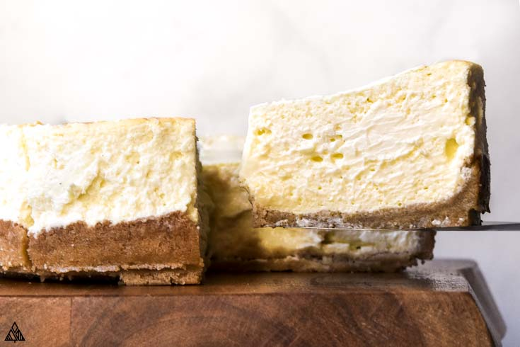 Slices of low carb cheesecake
