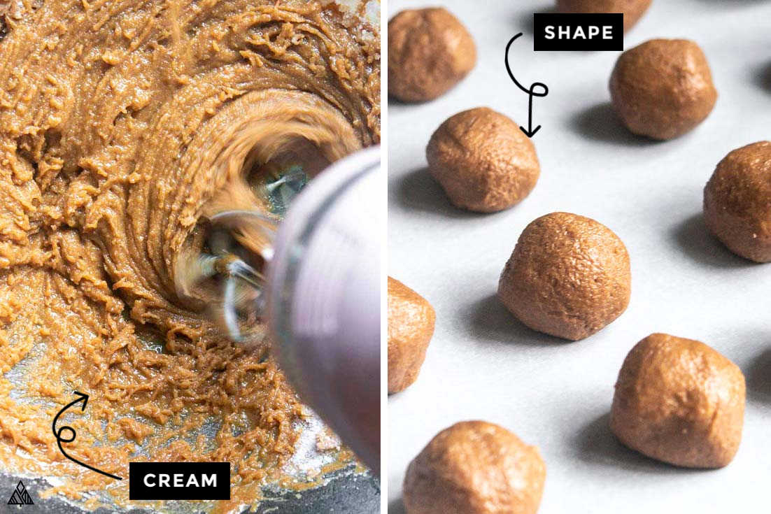 Collage of how to prepare low carb peanut butter balls