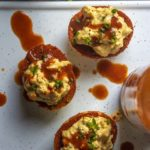 Top view of spicy deviled eggs