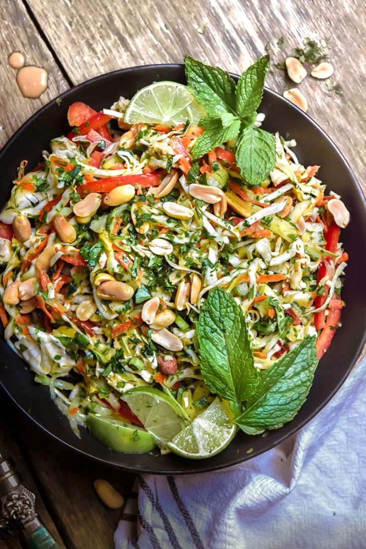 Thai chicken salad in a pan