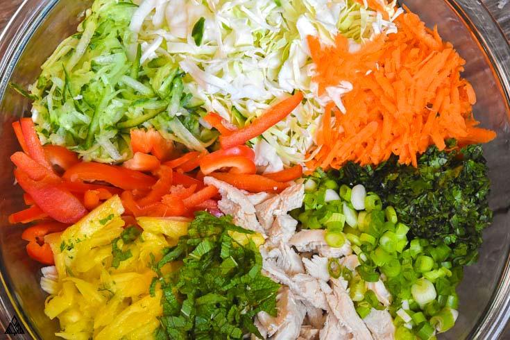 All ingredients for thai chicken salad