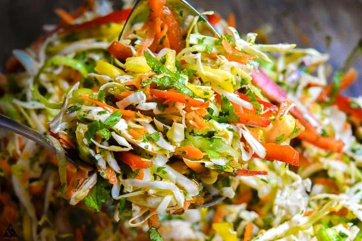 Closer look of thai chicken salad