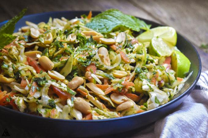 Side view of thai chicken salad