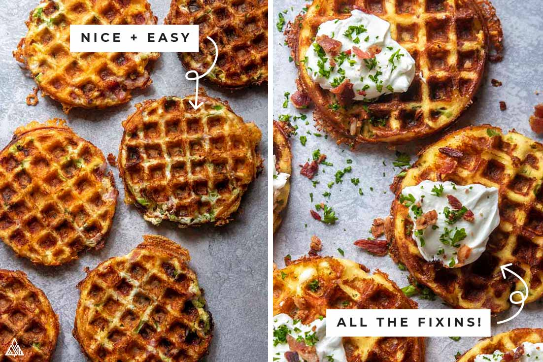 Collage of jalapeno poppers chaffles with and without the fixins