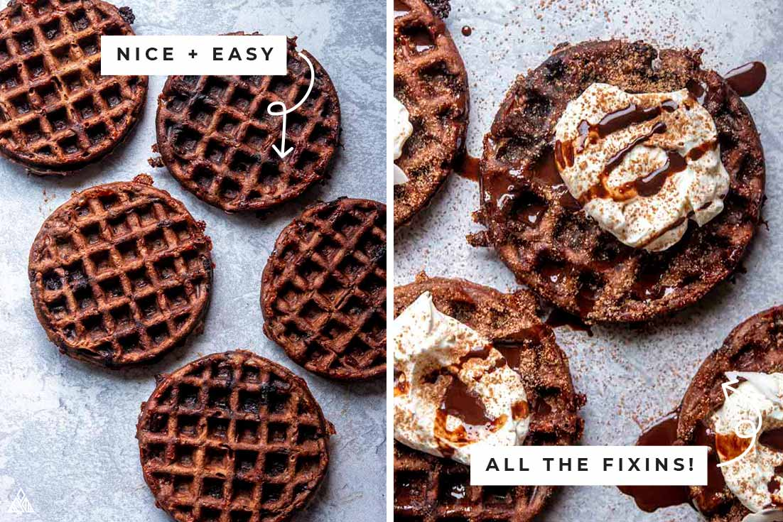 Collage of chaffles with brownies with and without the fixins