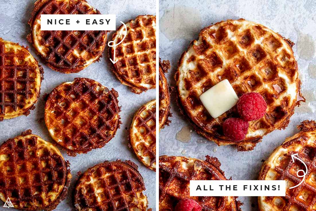 Collage of traditional chaffles with and without the fixins