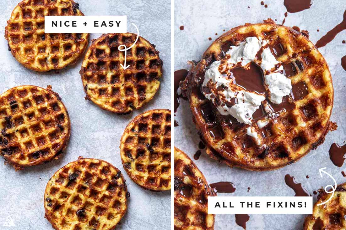 Collage of chocolate chip chaffles with and without the fixins