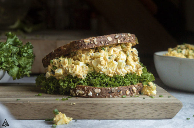 Classic egg salad recipe in between 2 slices of sandwich
