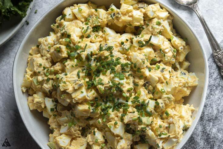 Closer look of classic egg salad recipe