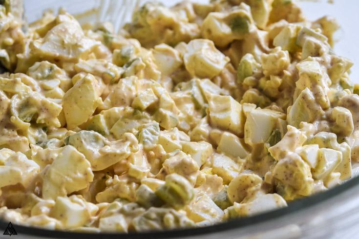 Closer look of deviled egg salad