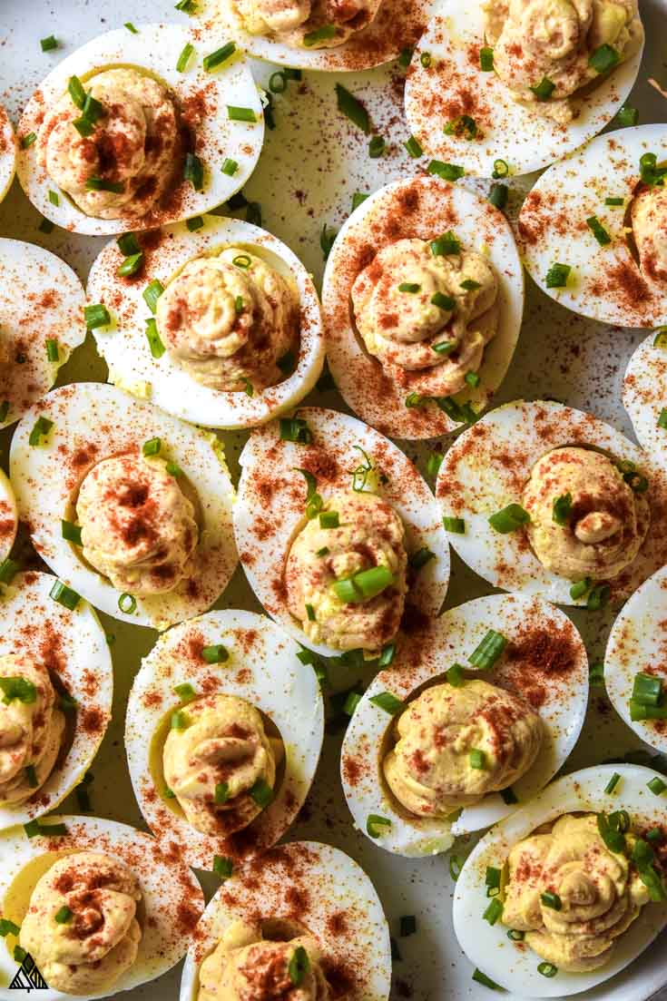 Top view of deviled eggs without mayo