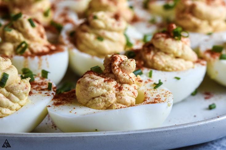 Closer look of deviled eggs without mayo
