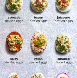 graphic with 9 variations of deviled eggs