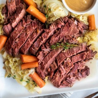 Instant pot corned beef in a plate