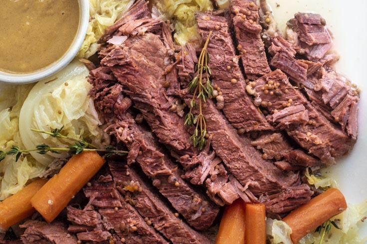 Closer look of instant pot corned beef