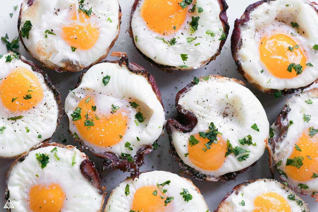 Top view of low carb breakfast muffins