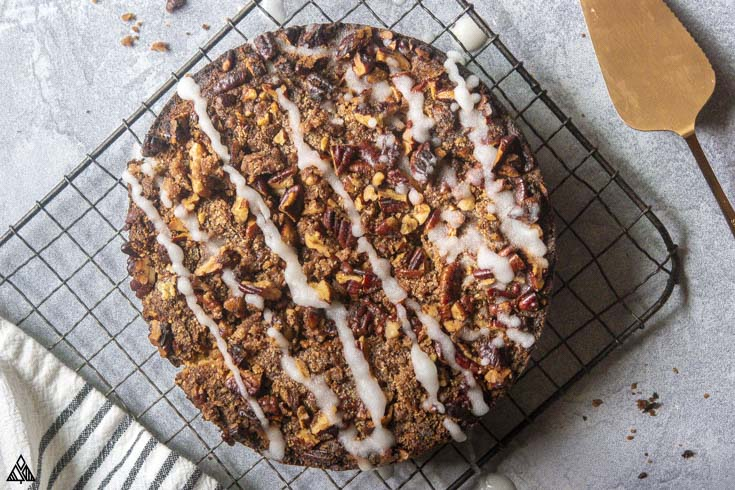 Low carb coffee cake on a baking screen